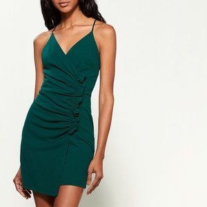 Green Deep V-Neck Cami Dress with Ruffle detail